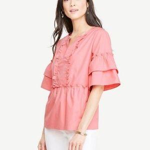 •Ann Taylor• Pink Peplum Top